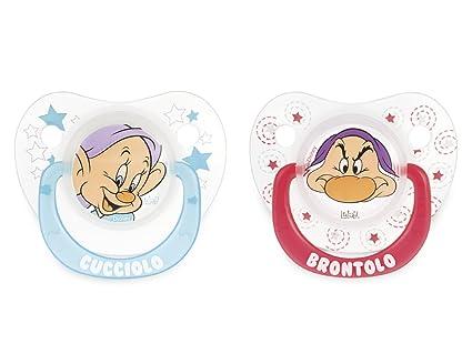 Disney Confección de Chupete, Forma de Gota, 2 Piezas, Diseño de los Siete Enanitos, 6 Meses, Multicolor