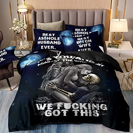 Amazon Com 3 Pieces Skull Duvet Cover Set King 3d It S You And Me Pattern Printed Bedding Duvet Cover With Pillowcases Soft Microfiber Gothic Bedding Comforter Cover For Adults 90 X 103 Kitchen