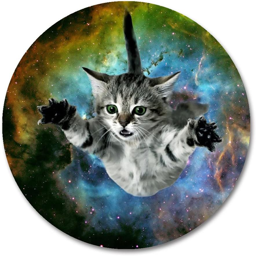 Cat Round Mouse Pad by Smooffly,Galaxy Space Cat Mini Design Gaming Mouse Pad Round Mousepad