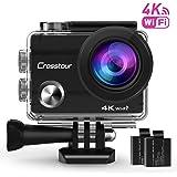 Action Cam 4K Wifi Ultra HD Impermeabile Crosstour Camera Subacquea 2 Pollici LCD 170°Grandangolare 2 Batterie Ricaricabili 1050 mAh e Kit Accessori