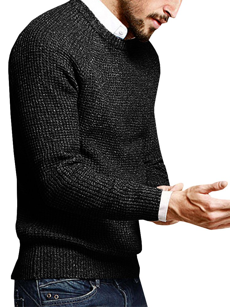Puwany Mens Casual Pullover Sweater Long Sleeve Knitted Crew Neck Solid Pullover by Puwany (Image #2)