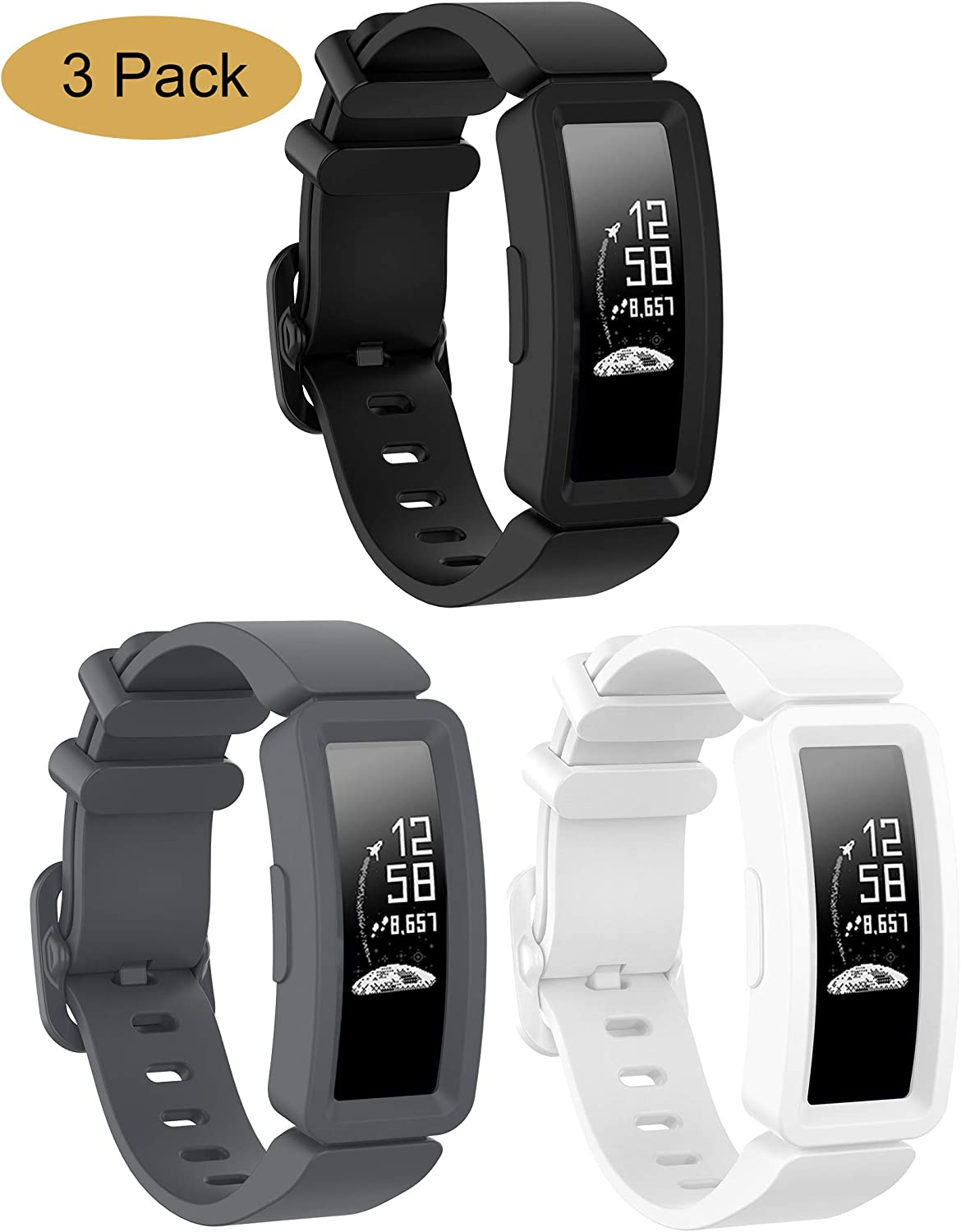 Bolesi Compatible Silicone Bands for Fitbit ace 2,Water Resistant Fitness Watch Strap for Fitbit ace 2 Bands for Kids Boys Girls(black+gray+white)