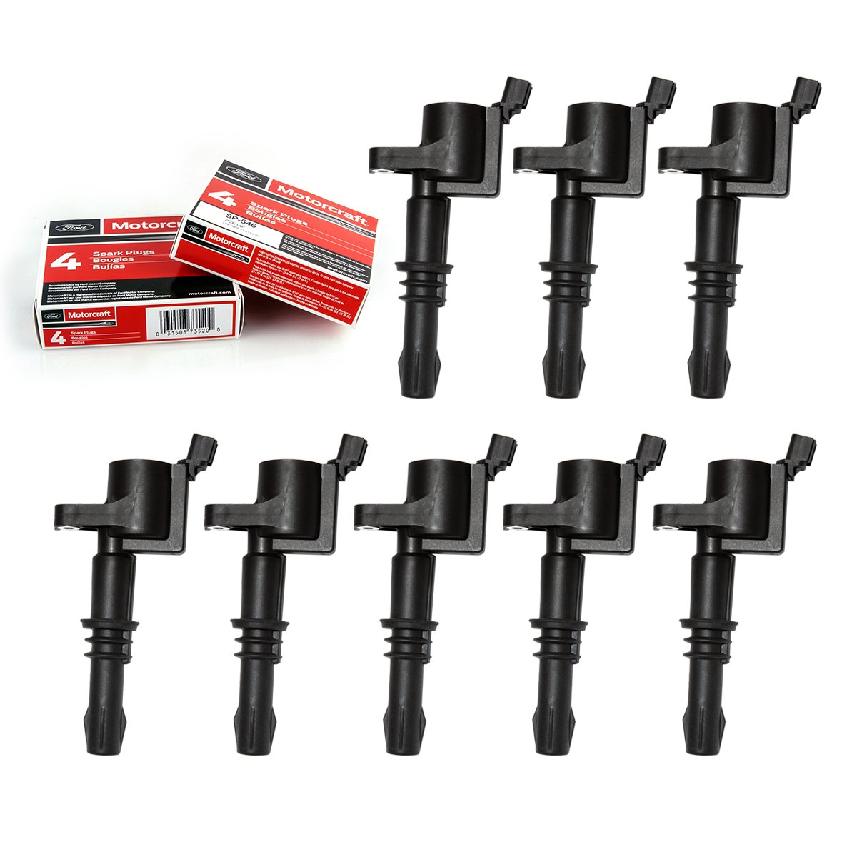 Combo Pack of Straight Boot Ignition Coils for Ford Lincoln Mercury V8 V10 4.6l 5.4l 6.8l Compatible with 3L3E12A366CA 3L3Z12029BA 3L3U12A366BB E508 (Set of 8) King Auto Parts