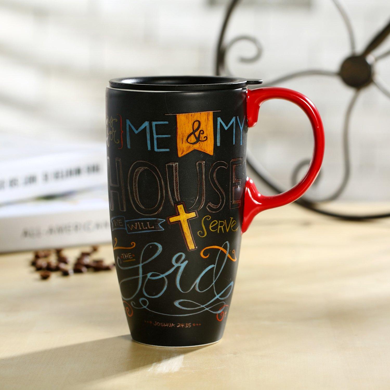 CEDAR HOME Travel Coffee Ceramic Mug Porcelain Latte Tea Cup With Lid in Gift Box 17oz. Me & My House