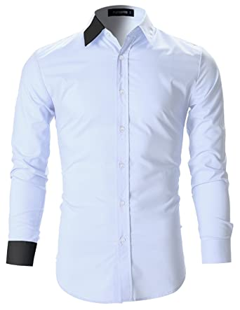 cee5d1cfcbc6d FLATSEVEN Mens Designer Slim Fit Color Block Dress Shirts (SH115) White