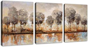 Abstract Forest Wall Art Trees Lake Sunset Modern Landscape Abstract Canvas Pictures for Bedroom Bathroom Wall Decor Contemporary Canvas Prints Brown Artwork for Home Decoration 12