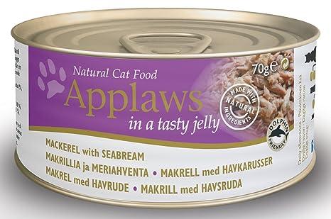 Applaws - Mackerel de gato con aroma a mar en gelatina de 70 g (paquete