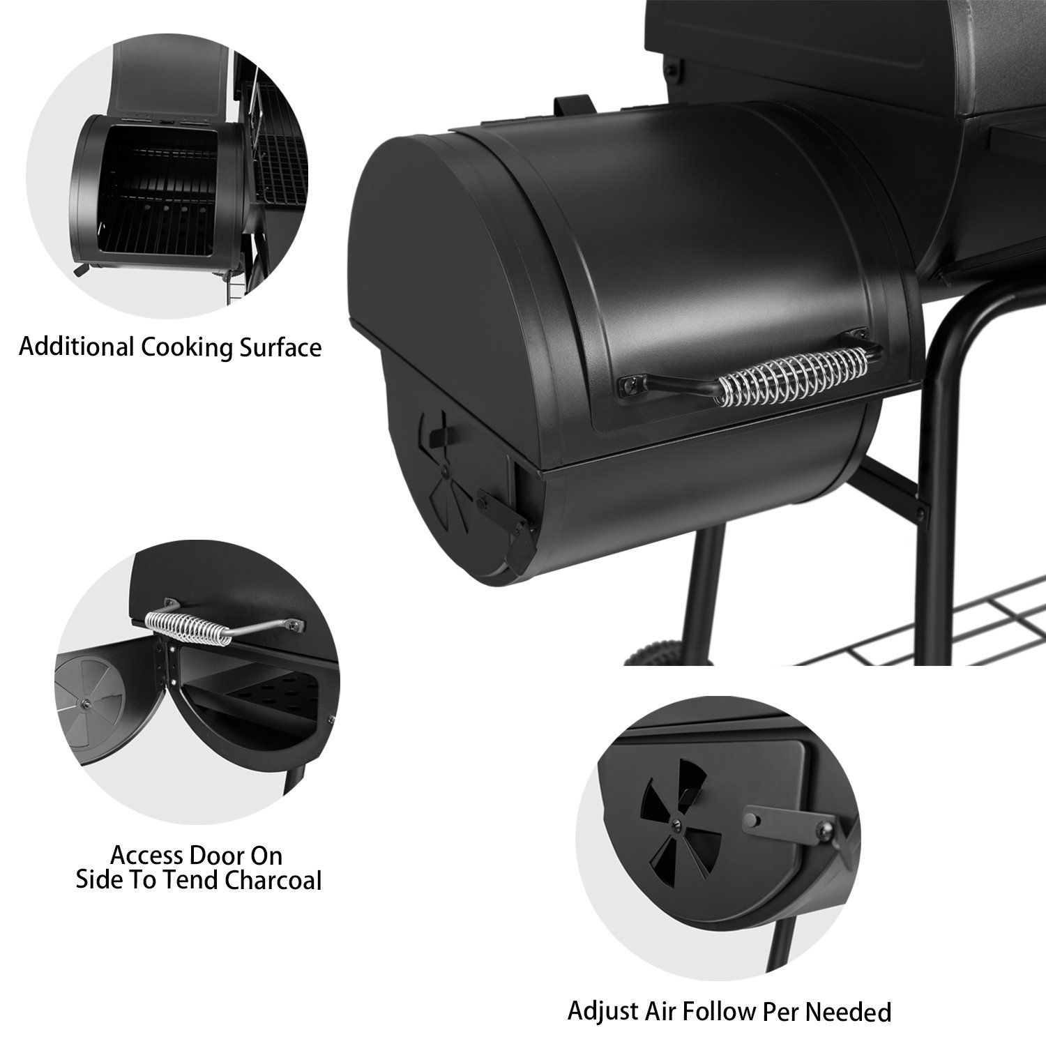 Royal Gourmet BBQ Charcoal Grill and Offset Smoker, 30'' L, 800 Square Inch, Outdoor for Camping, Black by Royal Gourmet (Image #6)
