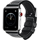7 Colors for Apple Watch Band, Fullmosa Jan Calf Leather Strap Replacement Band/Strap with Stainless Steel Clasp for iWatch Series 1 2 3 Sport and Edition Versions 2015 2016 2017, Black,42mm