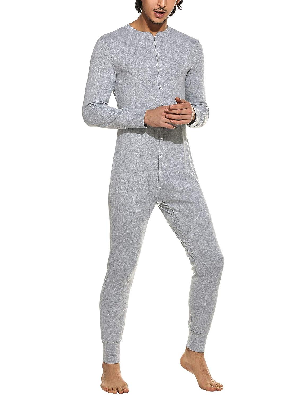 MAXMODA Men's Long Thermal Union Suit Button Down Pajamas S-XXL