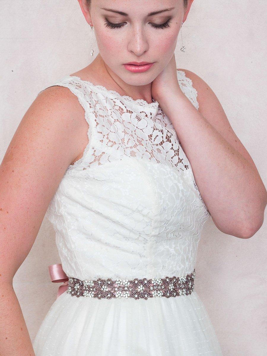 Antique Rose Rhinestone And Satin Ribbon Bridal Sash