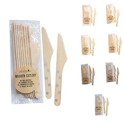 Cubiertos desechables Cuchillos de madera Juego de accesorios ecológicos - Lunares (Plata, 60)