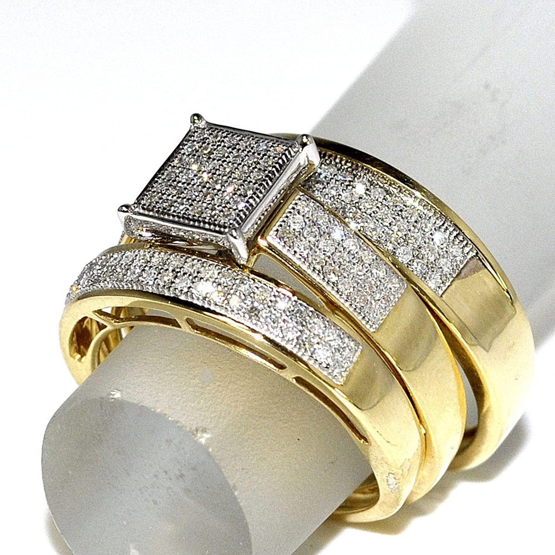 Amazon His Her Wedding Rings Set Trio Men Women 10k Yellow