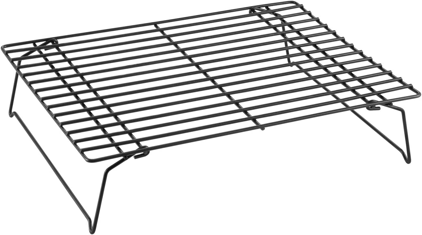 CHEFMADE Baking and Cooling Rack Set, 13.5-Inch Non-Stick Stackable Collapsible Rectangle Wire Rack for Oven Baking (Black)
