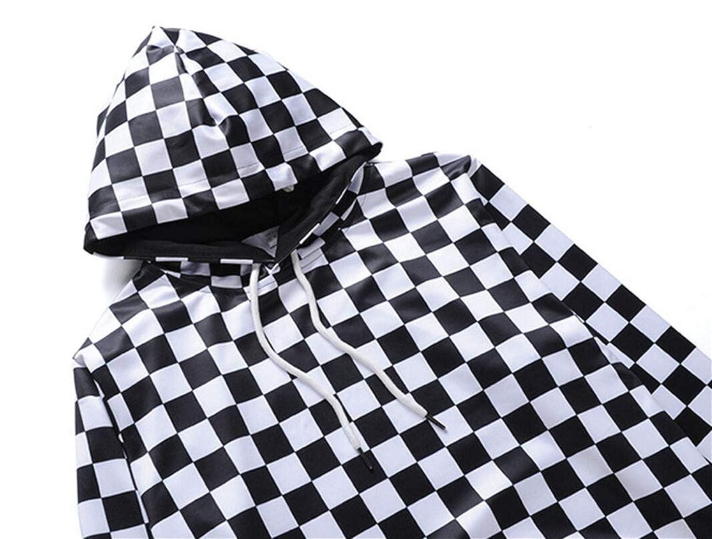 XTX Mens Drawstring Hooded Checked Classic Pullover Hoodie Sweatshirt