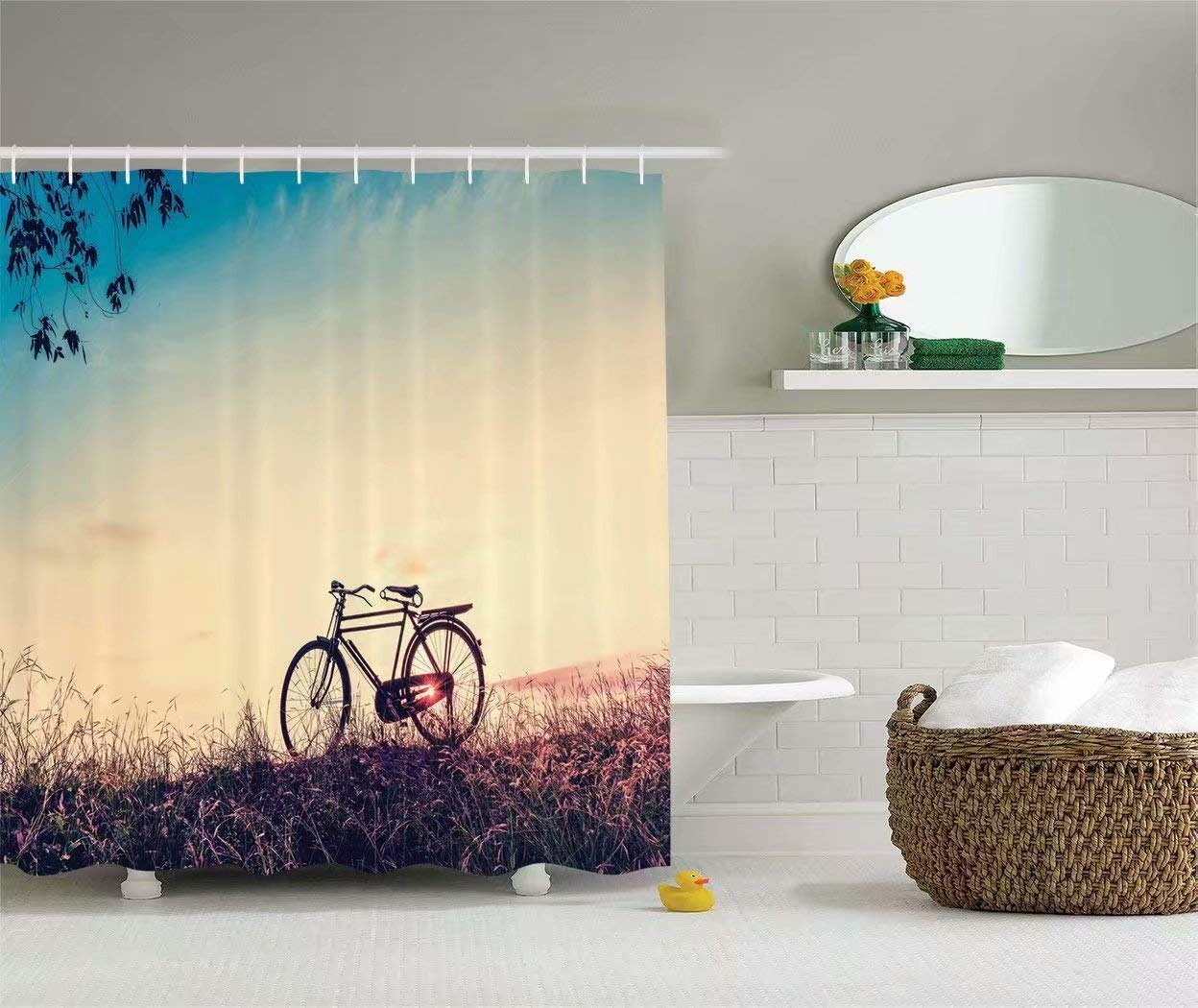 KANATSIU Retro Filter Sunset Bicycle in Pastel Tones Mountain Bike Theme Shower Curtain 12 Plactic Hooks,100% Made Polyester,Mildew Resistant & Machine Washable,Width x Height is 72X72