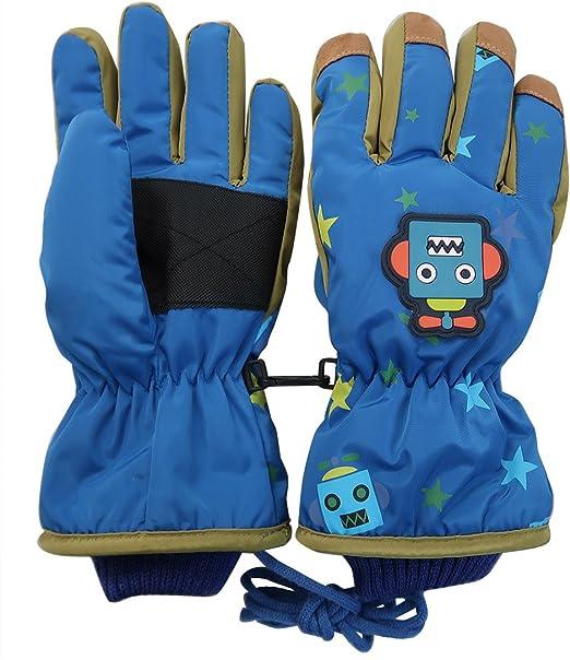 L-XL Grey Yellow Kids Ski Gloves Winter Gloves Blue