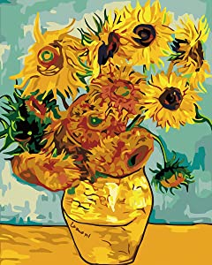VIKMARI Paint by Number for Adults Painting by Numbers Kits Van Gogh Sunflower DIY Acrylic Painting by Numbers Van Gogh for Wall Decor 40 x 50 cm