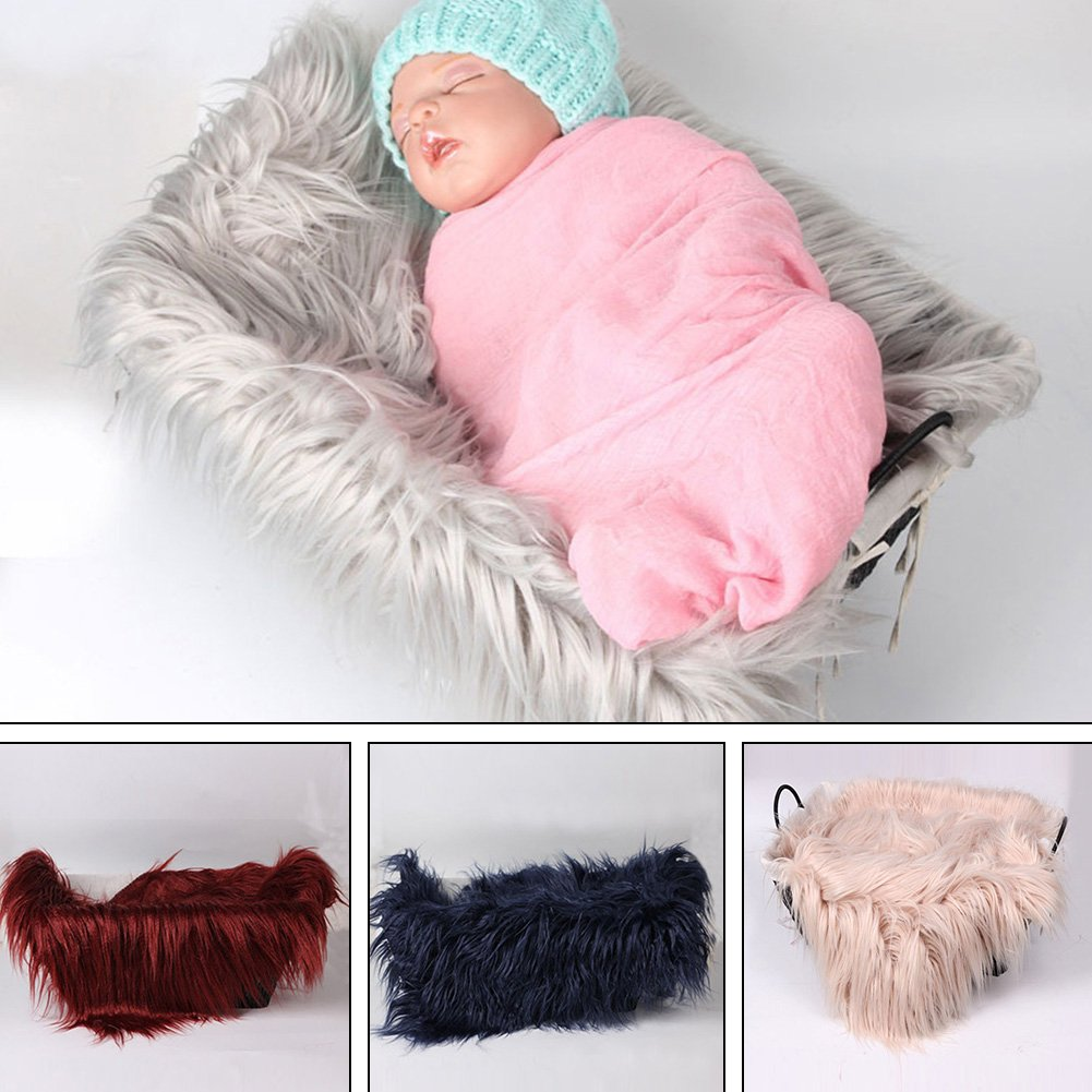 FADDR Baby Photo Blanket Long Hair,Photography Wrap Shaggy Area Rug,Newborn Soft Faux Fur Mat,Basket Stuffer Rug Background Backdrop 50 cm 60 cm Caqui 2#