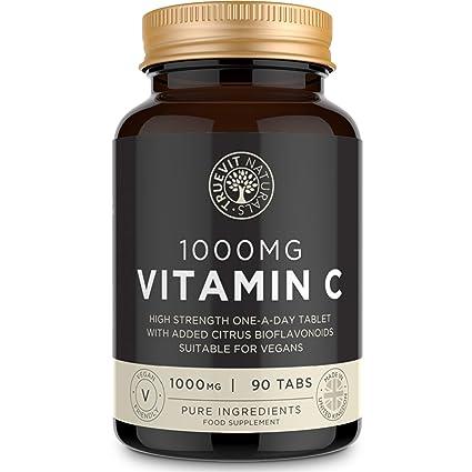 Vitamina C Tabletas de 1000 mg con Bioflavonoides de Fruta Cítrica - Vitamina C Vegana Una