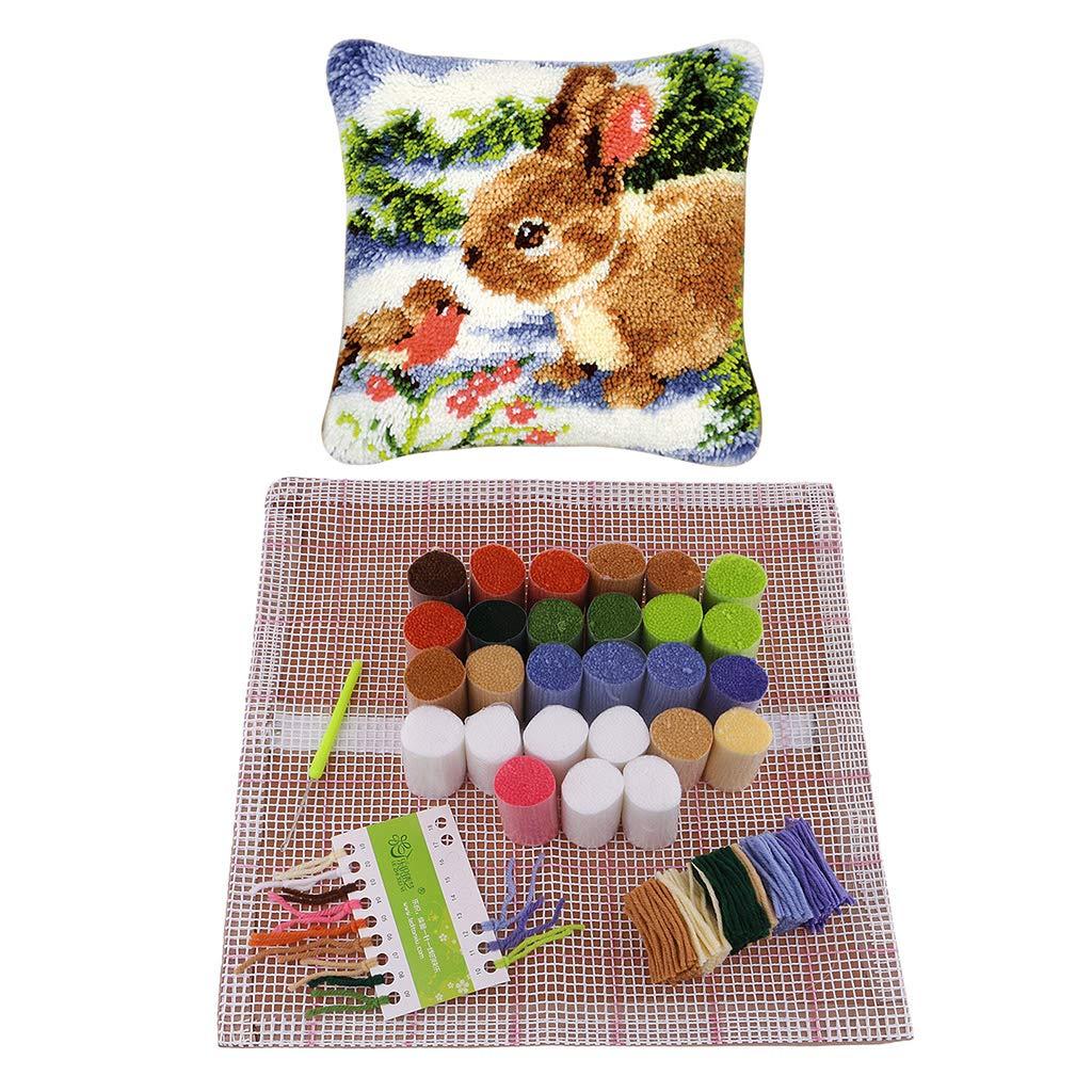 P Prettyia DIY Kreuzstichkissen Kn/üpfkissen Kissenbuzug zum Selber Kn/üpfen Kissen Paket 43x43cm Kaninchen