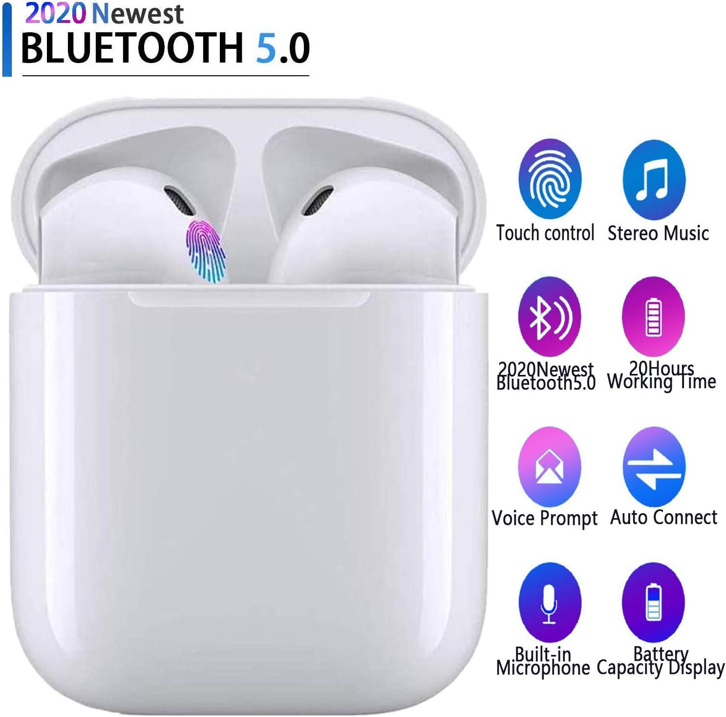 Auriculares Bluetooth 5.0 Auriculares Bluetooth Inalámbrico 650mAh 20H Tiempo De Juego Audio Stereo 3D in Ear con Mic, IPX6 Resistentes al Agua para Apple Airpods Android iPhone Blanco