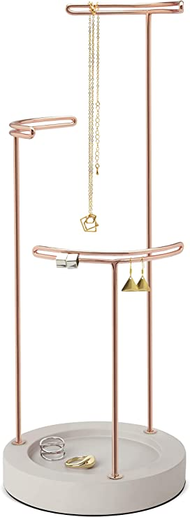 Amazon Com Umbra Tesora 3 Tier Jewelry Stand Earring Holder Accessory Organizer And Display Concrete Copper Home Kitchen