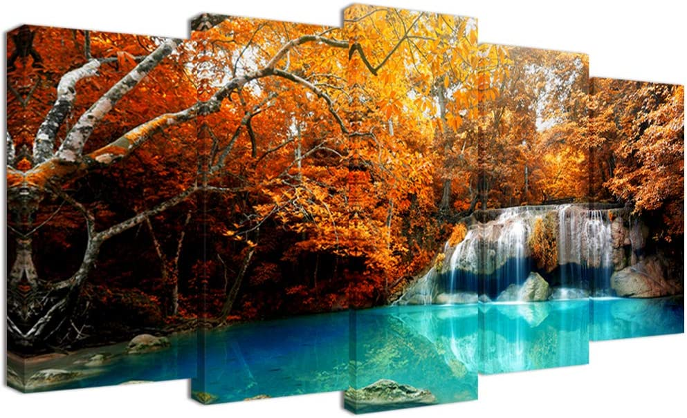 Visual Art Decor 5 Pieces Canvas Wall Art Autumn Yellow Orange Trees Forest Blue Waterfall Lake Picture Prints Framed and Stretched for Modern Home Living Room Office Decoration (Large)