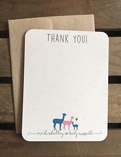 llama baby shower thank you cards custom from family recycled