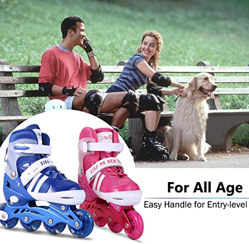 Aceshin Adjustable Inline Skates with Light up Wheels Beginner Roller Skates Fun Illuminating Roller Skates for Kids US Stock