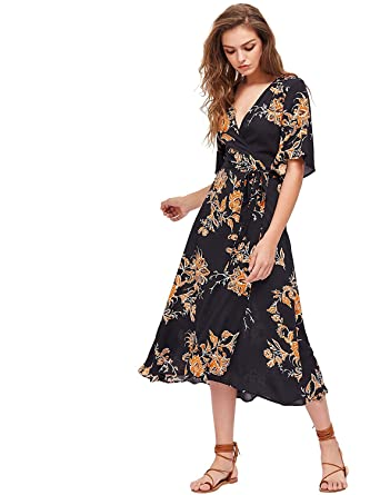 a2cda52802f32 Milumia Women's Boho Deep V Neck Floral Chiffon Wrap Split Long Dress Black  XS