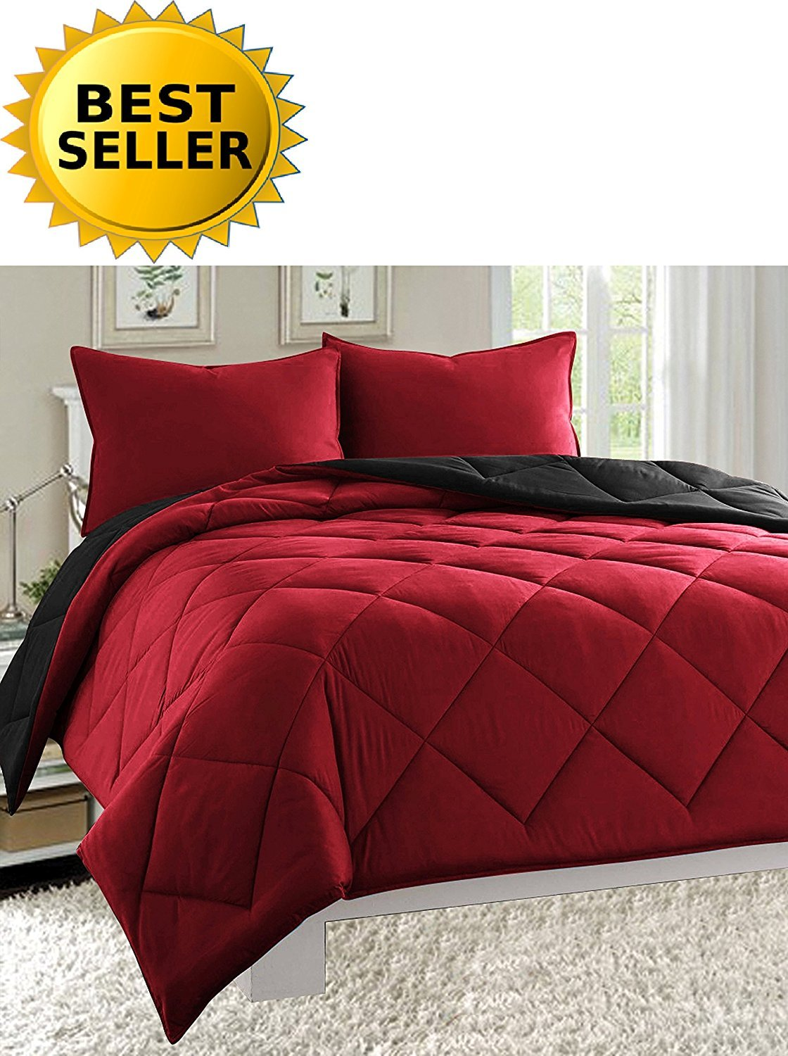 3-Piece Comforter Set - HypoAllergenic, Diamond Stitched, Full/Queen, Black/Burgundy