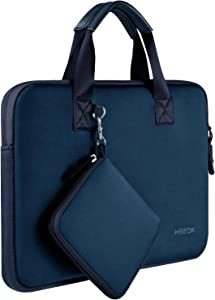 "Laptop Sleeve 13 13.3 13.5 Inch Case for MacBook Air Pro 13""-13.3"", Surface Laptop 13.5"", Water Repellent Elastic Neoprene Notebooks Hand Bag with Handle and Small Case, Blue"