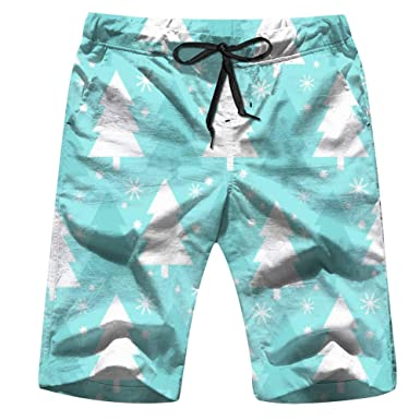 Mens Merry-Christmas Tree Light Shorts Pockets Swim Trunks Beach Shorts,Boardshort