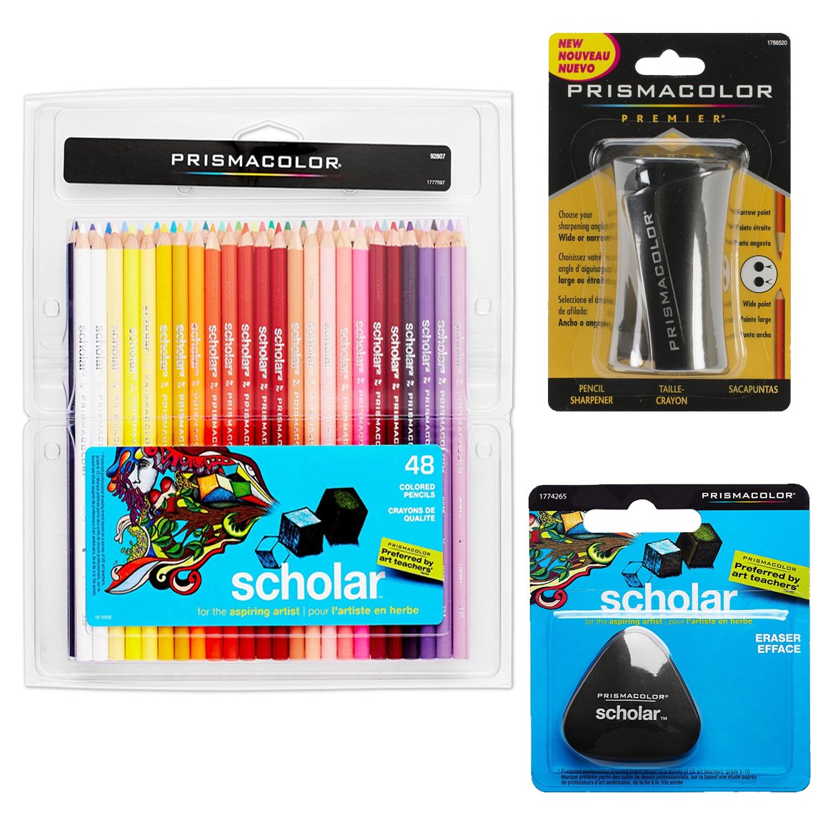 Prismacolor Scholar Colored Pencils 48-Count, Triangular Scholar Pencil Eraser and Premier Pencil Sharpener