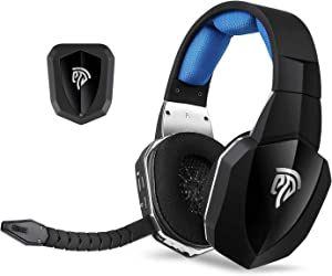 Wireless Gaming Headset, EasySMX 2.4G Optical for Xbox One PS4 PS3 Xbox 360 PC Laptop Tablets TV Chat Skype MAC Detachable Mic (A Microsoft Adapter is Needed When Used to Xbox) Black and Blue