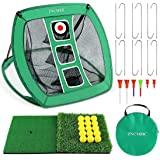 ZNCMRR Pop Up Golf Chipping Net, Indoor/Outdoor Golfing Target Net Collapsible Portable Golf Hitting Net with 15 Training Bal