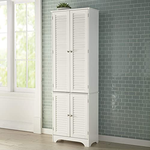 BrylaneHome Louvre Linen Cabinet, White