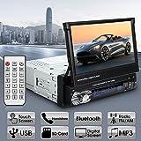Podofo Autoradio Stéréo 7 Pouces HD Lecteur de Radio Bluetooth Support Télécommande Stéréo Mp5, MP4, USB, SD, AUX, FM, iPod, iPhone Télécommande & Câble inclus