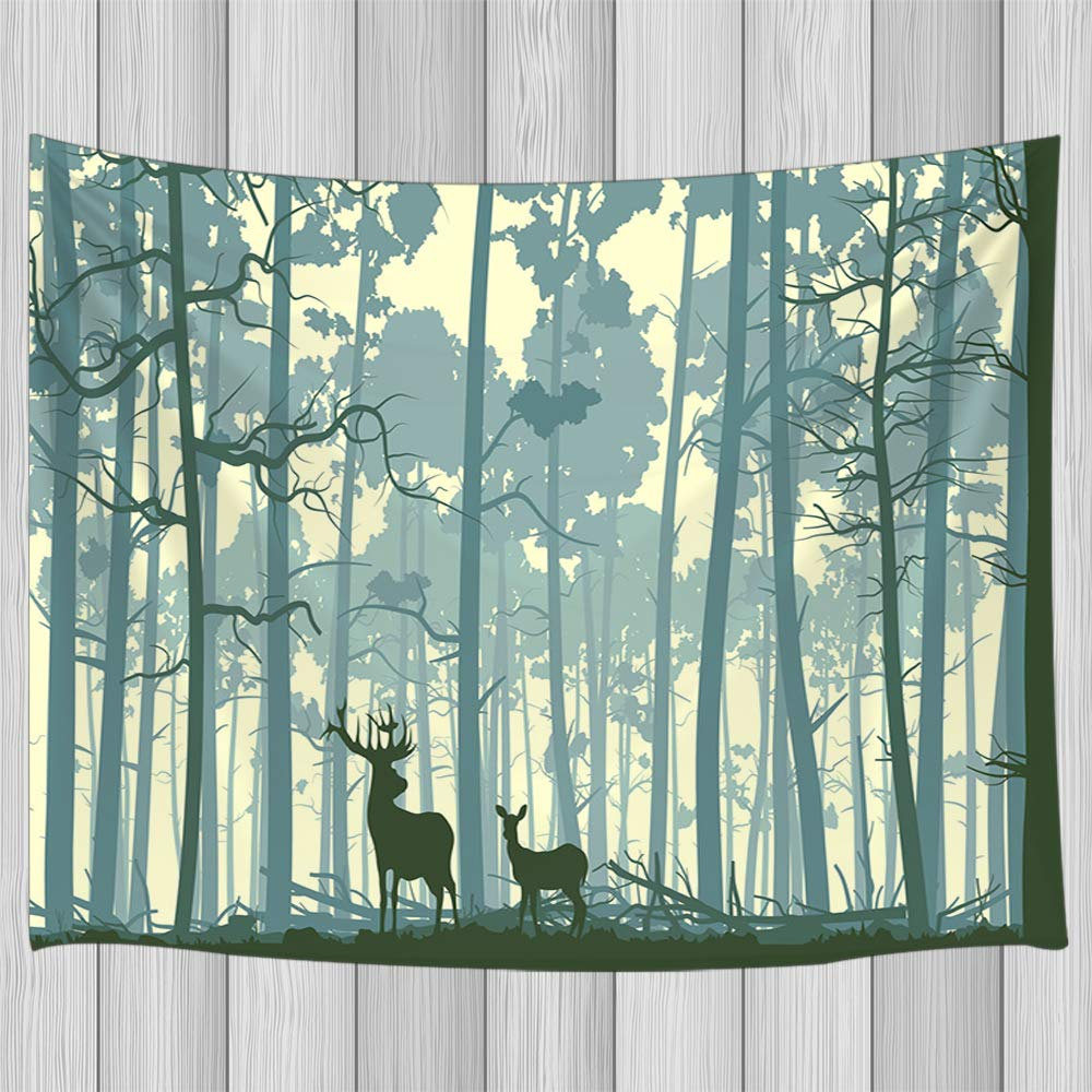 KOTOM Elk Tapestry Wall Hanging, Deer in Forest Silhouette, Tapestries Art Home Decor Bedroom Living Room Dorm TV Backdrop, 60X40 Inches