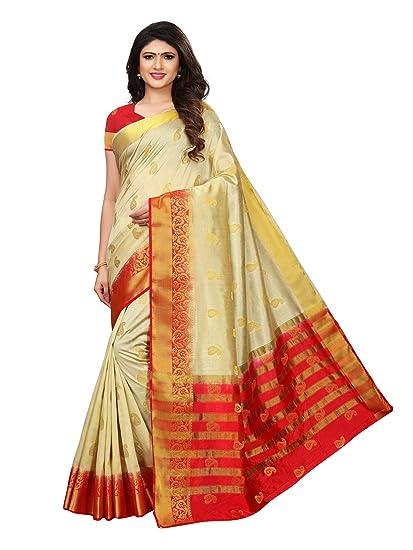 4588fa9fa Kanchnar Women s Cream Poly Silk Jacquard Patta Saree  Amazon.in ...