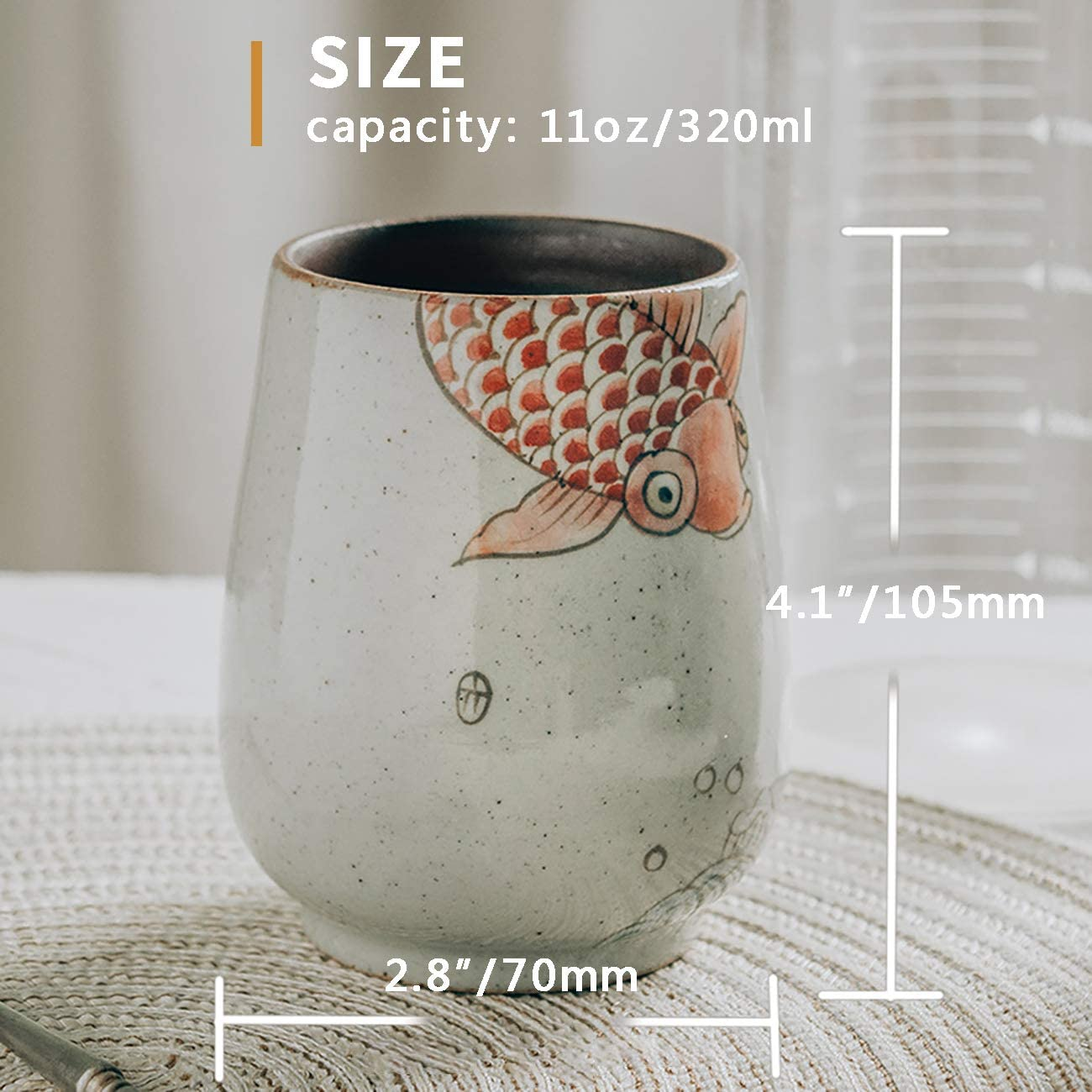 Reusable Slip-Proof Gripping Easy Cleaning Goldfish Pattern A Include Stainless Steel Straw for Home and Travel Use Ceramic Yerba Mate Tumbler Gourd and Bombilla Set