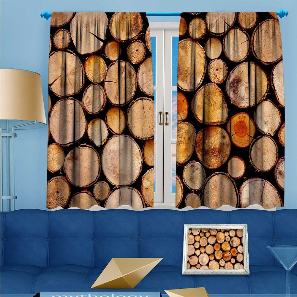 SCOCICI1588 Solid Rod Pocket top Thermal Insulated Window Blackout Curtains Neatly stacked wood for Dining Room W104'' x L63'' Pair by SCOCICI1588 (Image #1)