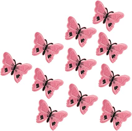 XUNHUI Blue Butterfly Flower Patches Embroidered for Clothing Iron Applique Clothes Stickers Badge DIY 1 Piece