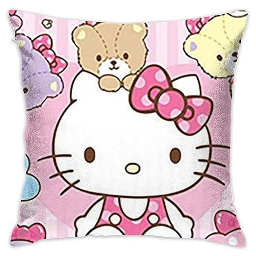 Kjhuihi Funda de cojín de Hello Kitty de Color Rosa de Lino ...