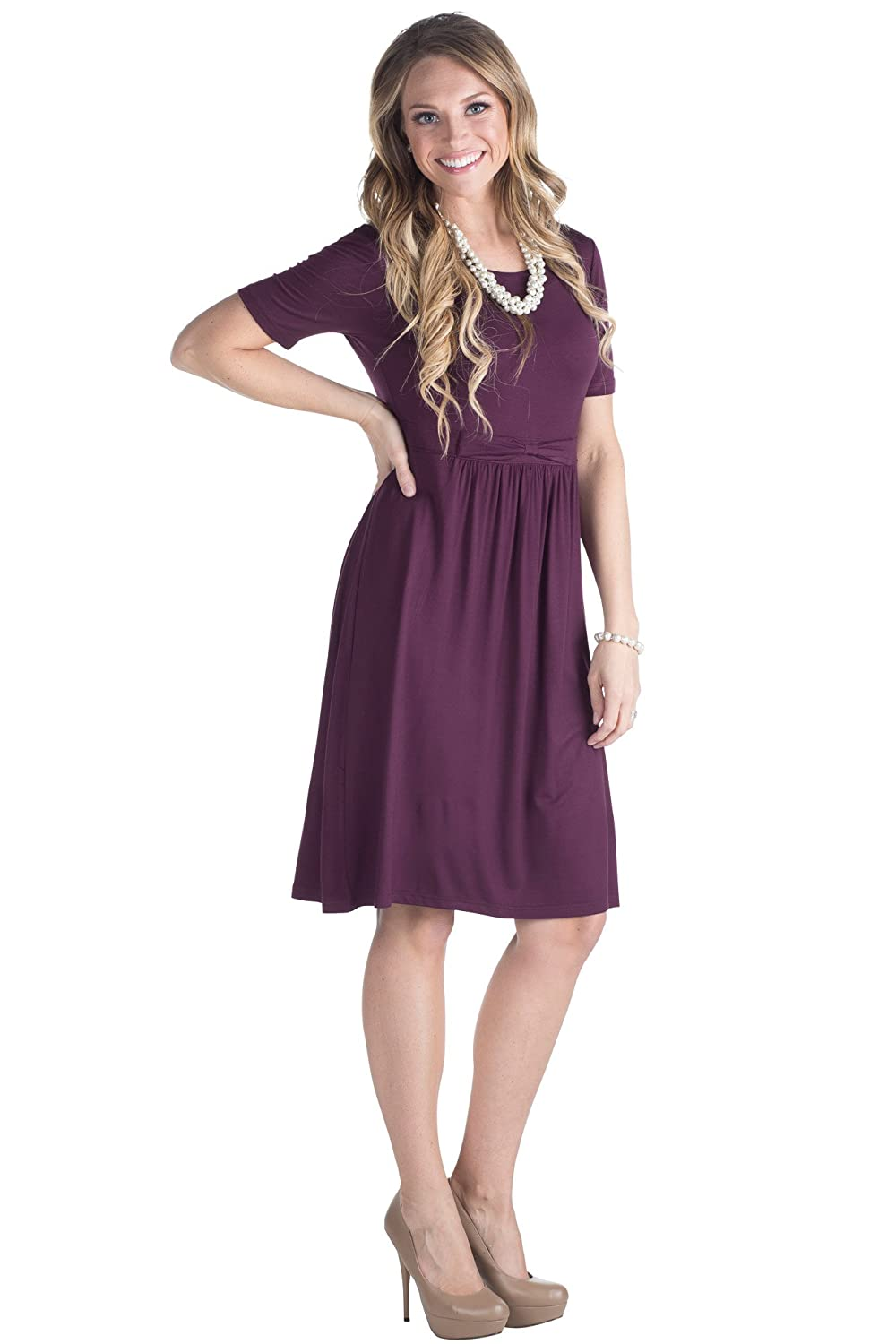 6be15906bf78 Modest Knee-Length Dress with Half-Sleeves Great modest dress for church or  every day. Also works well as a modest bridesmaid dress!