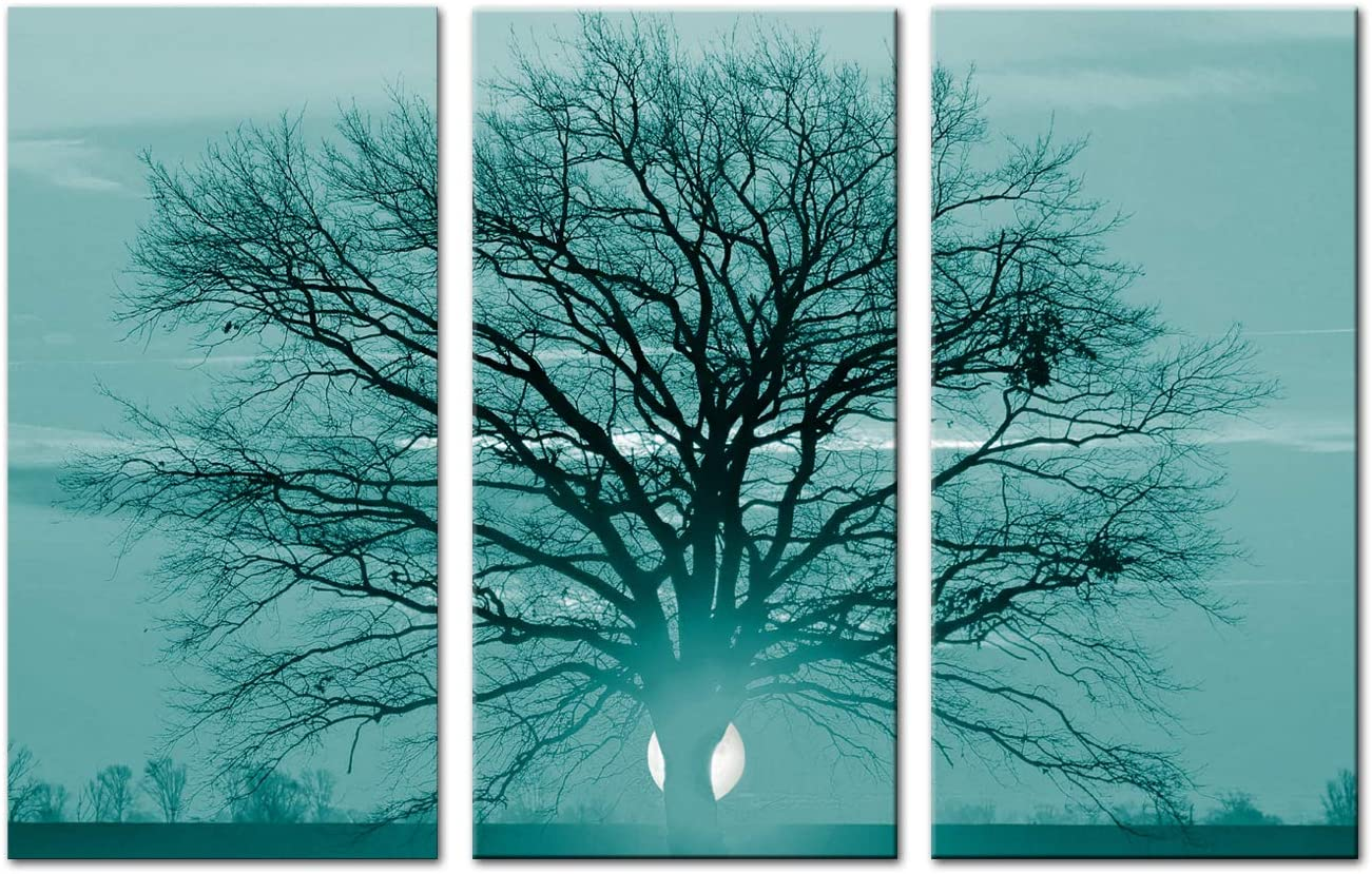 """Artsbay 3 Pieces Tree Canvas Wall Art Decor Nature Autumn Landscape Picture Prints on Canvas Artwork Modern Home Decor for Wall Living Room Bedroom Stretched and Framed Ready to Hang 12""""X 24"""" X3"""