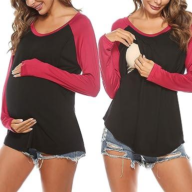 Sykooria Tops de Maternidad para Mujer Camisas de Lactancia ...
