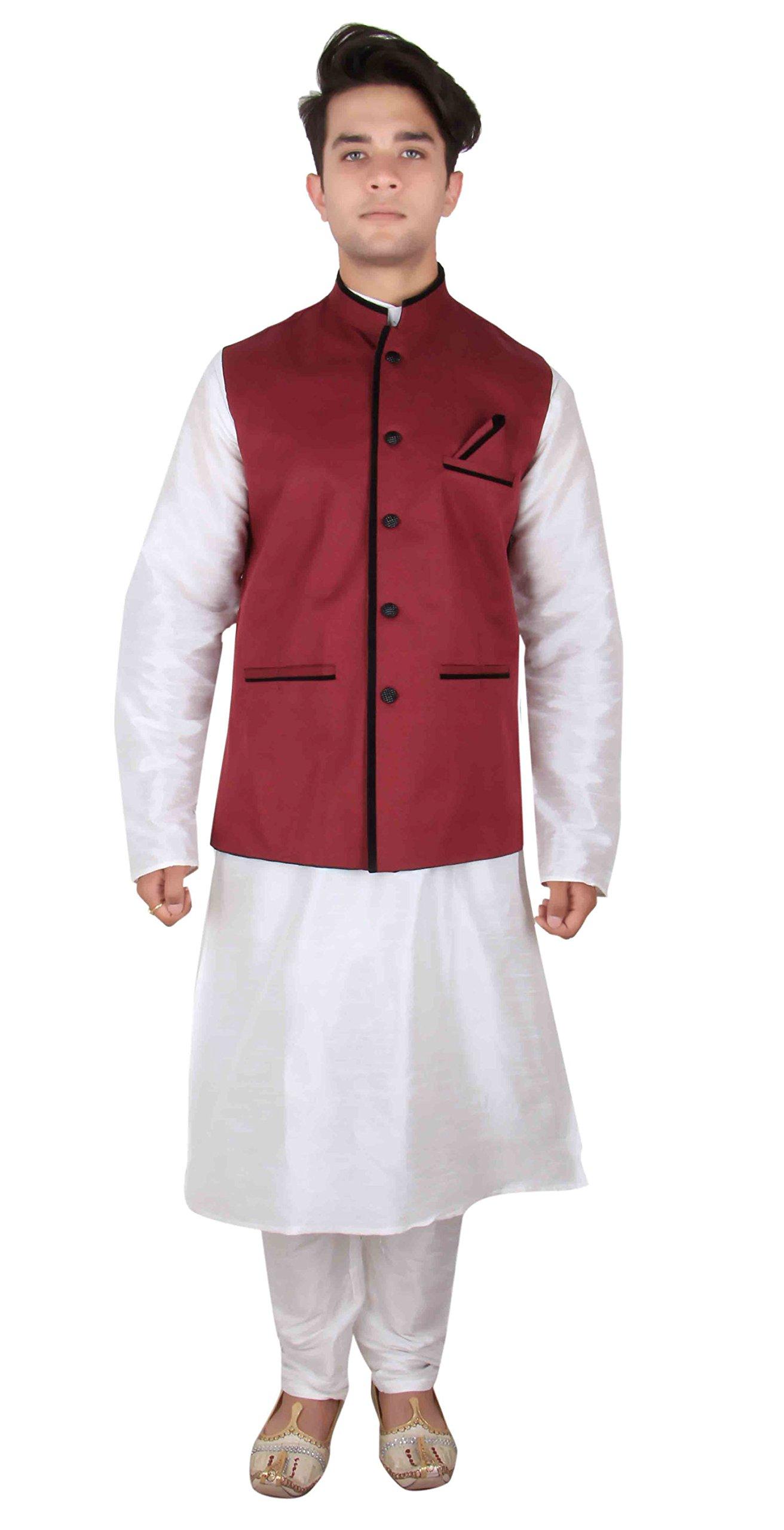Men's Indian Nehru, Gandhi, Modi style Waistcoat for Bollywood theme party & EID 1009 (46 (XXXL - UK), Maroon)
