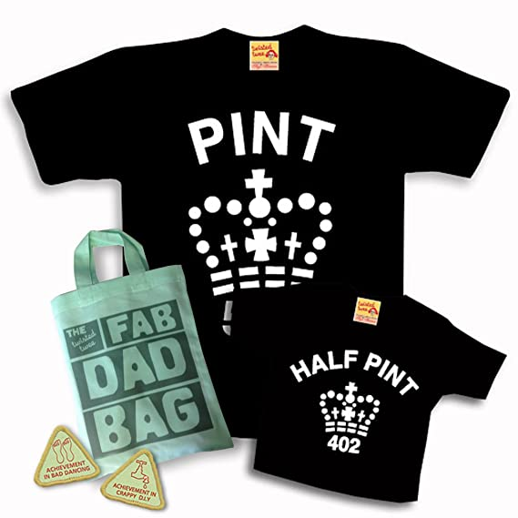 21d744d2 Matching Pint & Half Pint T shirt Set for Father & Son or Daughter - Black  - with ...